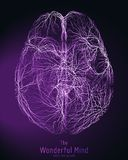 Vector l'illustrazione viola della cima del cervello 3d con le sinapsi ed i neuroni d'ardore Immagine concettuale della nascita d Fotografia Stock