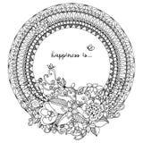 Vector l'illustrazione Zen Tangle, struttura rotonda di scarabocchio con i fiori illustrazione di stock