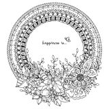 Vector l'illustrazione Zen Tangle, struttura rotonda di scarabocchio con i fiori royalty illustrazione gratis