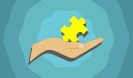 Vector l'immagine che descrive un pezzo del puzzle tenuto nella mano Fotografia Stock