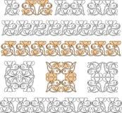 Vector l'immagine degli elementi e dei confini di progettazione nello stile dello stile Liberty Immagini Stock Libere da Diritti