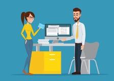 Vector l'immagine dell'uomo e della donna al loro posto di lavoro Immagine Stock