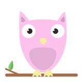 Vector l'immagine di un gufo rosa sveglio su fondo bianco illustrazione di stock