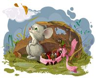 Vector l'immagine resizible con l'autunno, il topo e gli insetti in sciarpa Fotografia Stock Libera da Diritti
