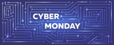 Vector l'insegna cyber di lunedì con l'imitazione del circuito stampato Fotografie Stock Libere da Diritti