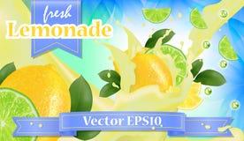 Vector l'insegna di promozione degli annunci 3d, il limone realistico e gli splas della frutta Fotografia Stock Libera da Diritti