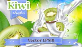 Vector l'insegna di promozione degli annunci 3d, kiwi realistico che spruzza w Fotografie Stock