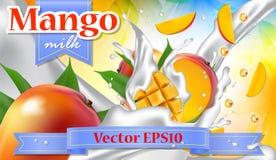 Vector l'insegna di promozione degli annunci 3d, spruzzatura realistica della frutta del mango illustrazione vettoriale
