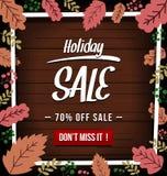 Vector l'insegna di vendita di festa di autunno con struttura astratta della foglia e di legno di stagione di caduta nel colore s royalty illustrazione gratis
