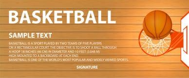 Vector l'insegna, il campo da pallacanestro, una merce nel carrello della palla Fotografia Stock