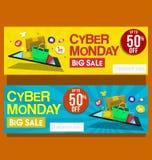 Vector l'insegna orizzontale vendita cyber di lunedì di grande con l'illustrazione creativa del negozio online in giallo ed in bl royalty illustrazione gratis