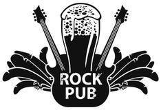 Vector l'insegna per il pub della roccia con la chitarra e la birra illustrazione vettoriale