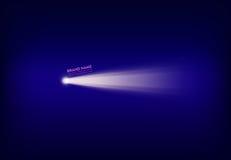 Vector l'insegna porpora astratta con il riflettore, la torcia elettrica, il raggio luminoso, raggio di luce Immagine Stock