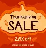 Vector l'insegna sociale di vendita di media di ringraziamento nel fondo astratto arancio della zucca di autunno illustrazione di stock