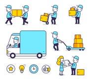 Vector l'insieme creativo dell'illustrazione dell'uomo felice della consegna in blu immagine stock