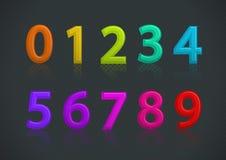 Vector l'insieme dei numeri variopinti Fotografie Stock Libere da Diritti