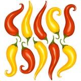 Vector l'insieme del pepe di peperoncini rossi caldi isolato sul BAC bianco Immagini Stock