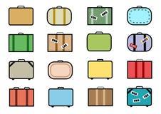 Vector l'insieme dell'icona della valigia Fotografie Stock