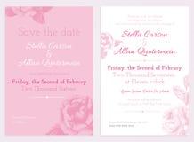 Vector l'insieme dell'invito e conservi le carte di data Raccolta di nozze Fotografia Stock