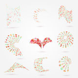Vector l'insieme di elementi astratto di logo di affari dei punti 3d Fotografia Stock