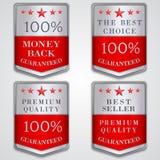 Vector l'insieme di etichetta d'argento del distintivo con qualità premio Fotografie Stock Libere da Diritti