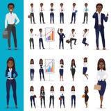 Vector l'insieme di lavoro americano di progettazione di carattere dell'ufficio dell'uomo di affari dell'africano nero e della do illustrazione di stock