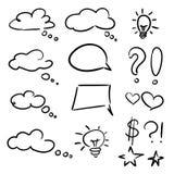 Vector l'insieme disegnato a mano delle bolle di pensiero delle stelle dei cuori dei giri delle nuvole dei fumetti di schizzo illustrazione di stock