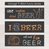 Vector l'insieme divertente della birra disegnata a mano d'annata della t Fotografie Stock Libere da Diritti