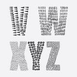 Vector l'insieme educativo con la sequenza disegnata a mano delle lettere dalla V alla Z decorato con le strutture dell'inchiostr Immagini Stock Libere da Diritti