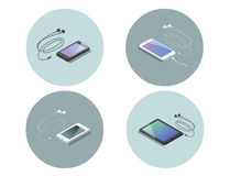 Vector l'insieme isometrico degli apparecchi elettronici, smartphone con le cuffie Immagini Stock