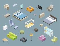 Vector l'insieme isometrico della mobilia della camera da letto e del salone Fotografia Stock Libera da Diritti