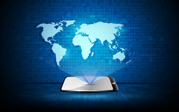 Vector l'ologramma astratto del fondo di concetto dell'innovazione di tecnologia della mappa di mondo Immagine Stock