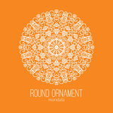 Vector l'ornamento floreale bianco disegnato a mano del cerchio della mandala sui precedenti arancio Per il tatuaggio o la cartol royalty illustrazione gratis