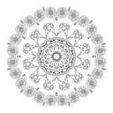 Vector l'ornamento floreale nero disegnato a mano del cerchio della mandala sui precedenti bianchi royalty illustrazione gratis