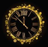 Vector l'orologio brillante 2018 del coutdown del nuovo anno sul backgroun nero Fotografie Stock Libere da Diritti