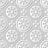 Vector l'ottagono senza cuciture Dot Line trasversale del fondo 064 del modello di arte della carta 3D del damasco Fotografie Stock Libere da Diritti