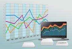 Vector l'ufficio moderno con i dati di gestione ed il conto finanziario Fotografia Stock