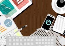 Vector l'uomo d'affari con un'area di lavoro e una tecnologia della comunicazione del telefono dello scrittorio Fotografie Stock Libere da Diritti