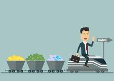 Vector l'uomo d'affari piano sul treno con i vagoni illustrazione di stock