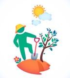 Vector l'uomo dell'illustrazione che pianta un albero ed ammiri il sole Immagini Stock Libere da Diritti