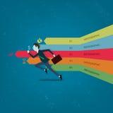 Vector l'uomo di affari competitivo con l'affare sul grafico di informazioni Fotografie Stock Libere da Diritti
