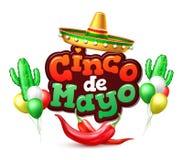 Vector la bandera mexicana del cartel de la parte de Mayo del cinco stock de ilustración