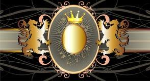 Vector la bandera oro-negra clásica con la corona y el li Foto de archivo libre de regalías
