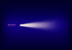 Vector la bandera púrpura abstracta con el proyector, linterna, haz luminoso, rayo de la luz con las chispas blancas Imágenes de archivo libres de regalías