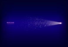 Vector la bandera púrpura abstracta con el proyector, linterna, haz luminoso, rayo de la luz con las chispas blancas Foto de archivo libre de regalías