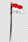 Vector la bandera simple de Indonesia del bosquejo en el polo, en el fondo transparente del efecto Fotografía de archivo
