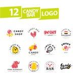 Vector la barra de caramelo plana y el diseño dulce del logotipo de la tienda fotos de archivo libres de regalías