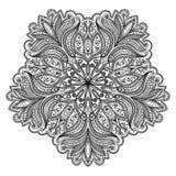 Vector la bella mandala del nero di Deco, l'elemento modellato di progettazione, l'amuleto etnico, modello floreale rotondo di mo Fotografie Stock