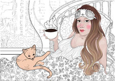 Vector la bella ragazza addormentata con una fasciatura per dormire caffè bevente nel suo letto con un gatto immagini stock
