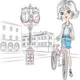 Vector la bella ragazza con fiori a Parigi Fotografia Stock